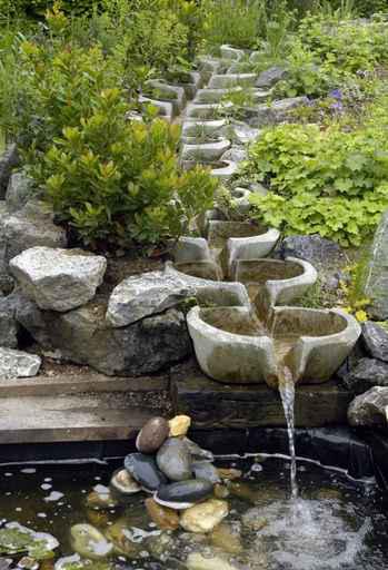 fontaine dans un jardin